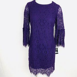 Ronni Nicole Lace Eggplant Bell Sleeves Women Dres